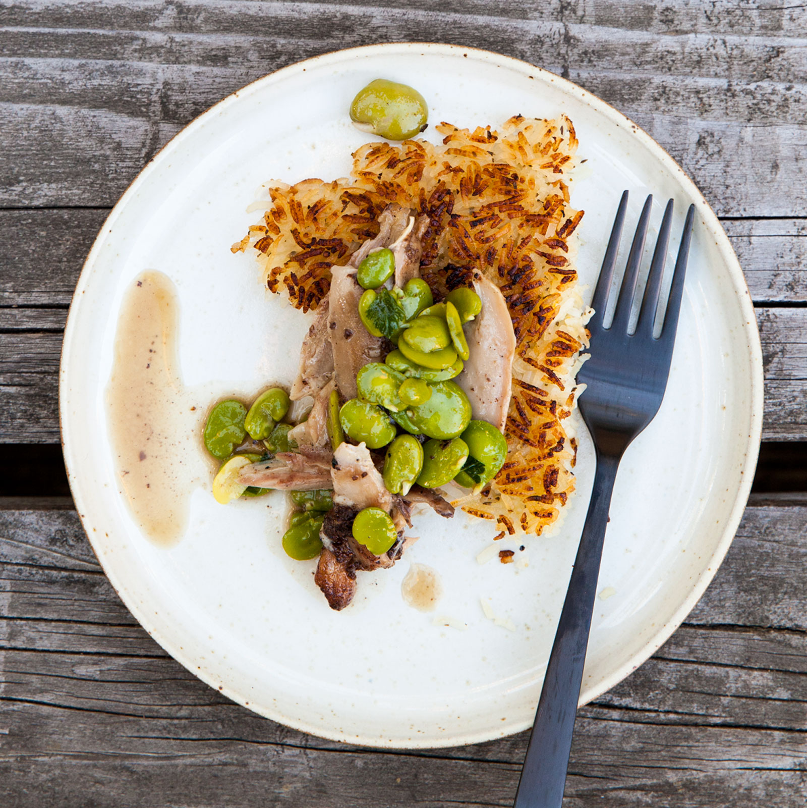 Braised Chicken with Fava Beans, Crispy Rice, Dried Mint and Lemon