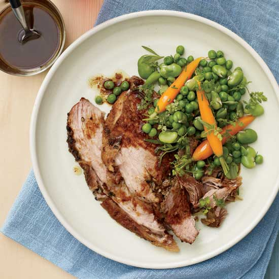 Garlic-Rubbed Pork Shoulder with Spring Vegetables