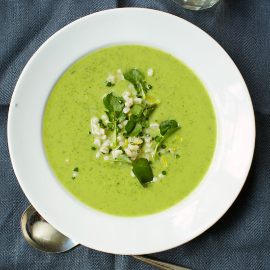 Zucchini & Spinach Soup with Barley, Coriander & Watercress