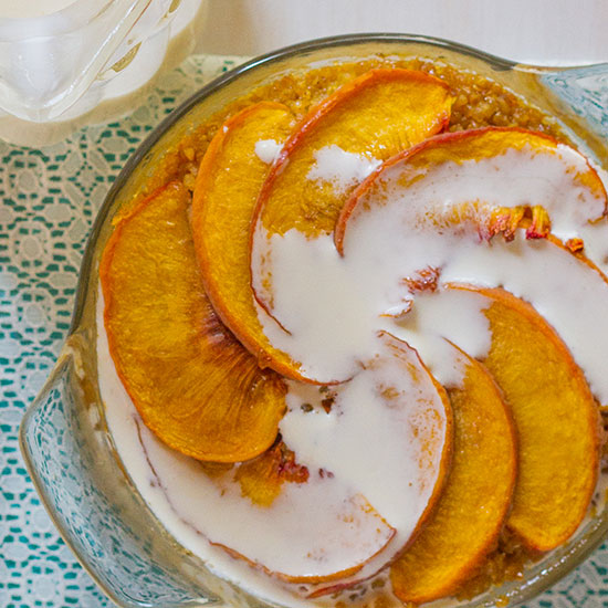Peaches and Cream Baked Quinoa and Oatmeal