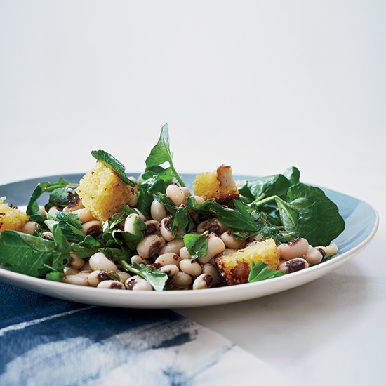 Black-Eyed Pea and Watercress Salad with Corn Bread Croutons