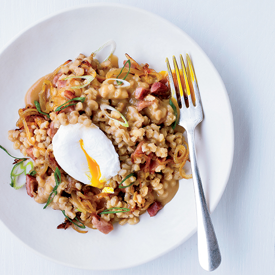Pearl Barley Porridge with Ham and Eggs