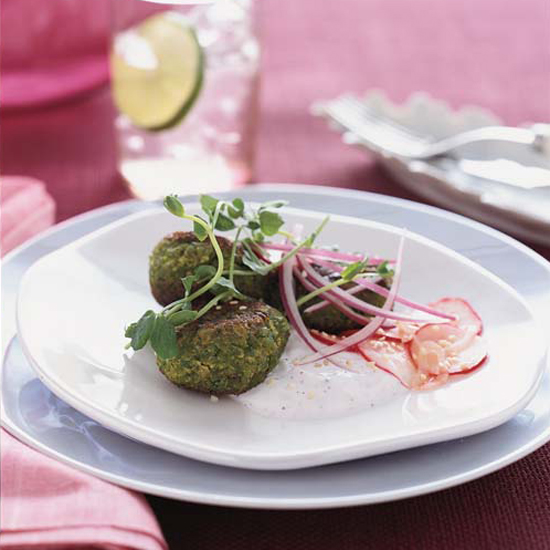 Spring Pea Falafel with Marinated Radishes and Minted Yogurt