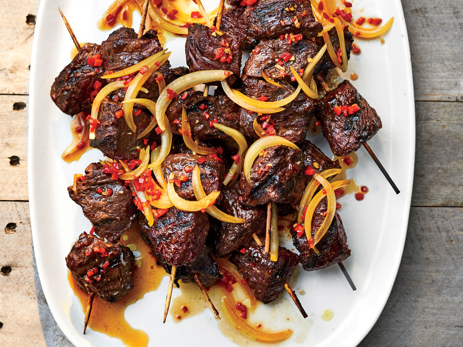 Pulehu Steak Tip Skewers with Maui Onion Finadene Sauce