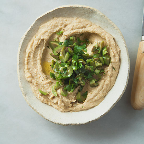 Classic Hummus with Castelvetrano Olive Tapenade