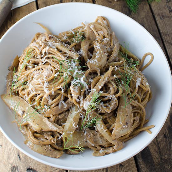 Creamy Fennel and Black Garlic Whole-Wheat Pasta