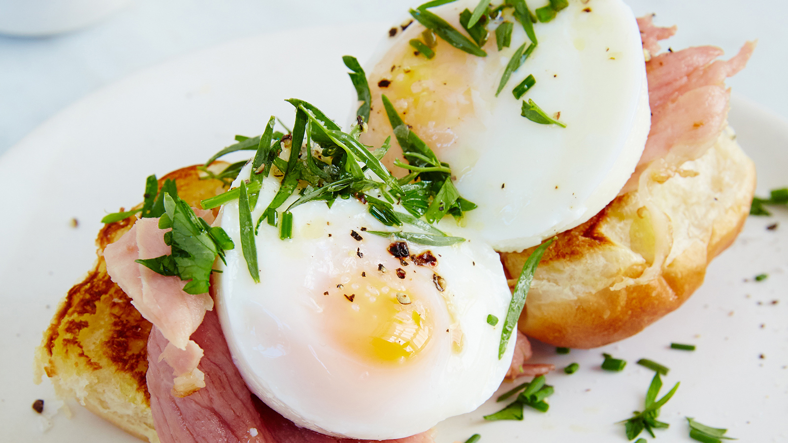 Open-Face Egg and Griddled Ham Breakfast Sandwiches