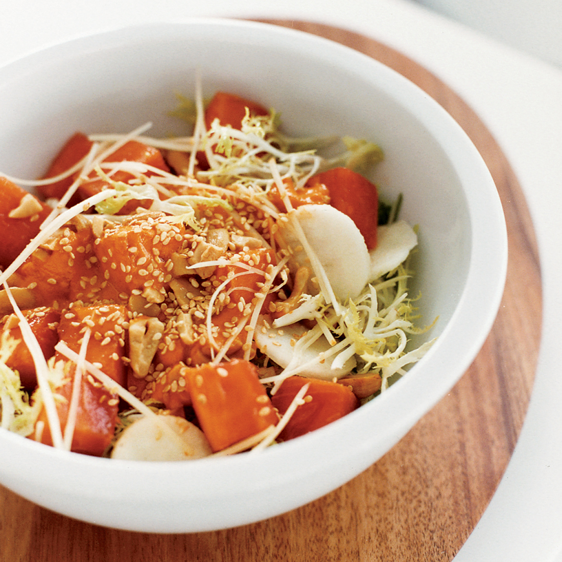 Papaya, Cashew and Frisée Salad