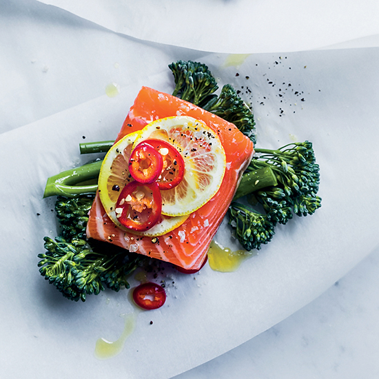 Salmon, Broccolini and Fresh Red Chile Papillotes
