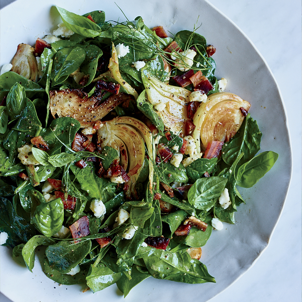 Spinach and Fennel Salad with Candied Bacon