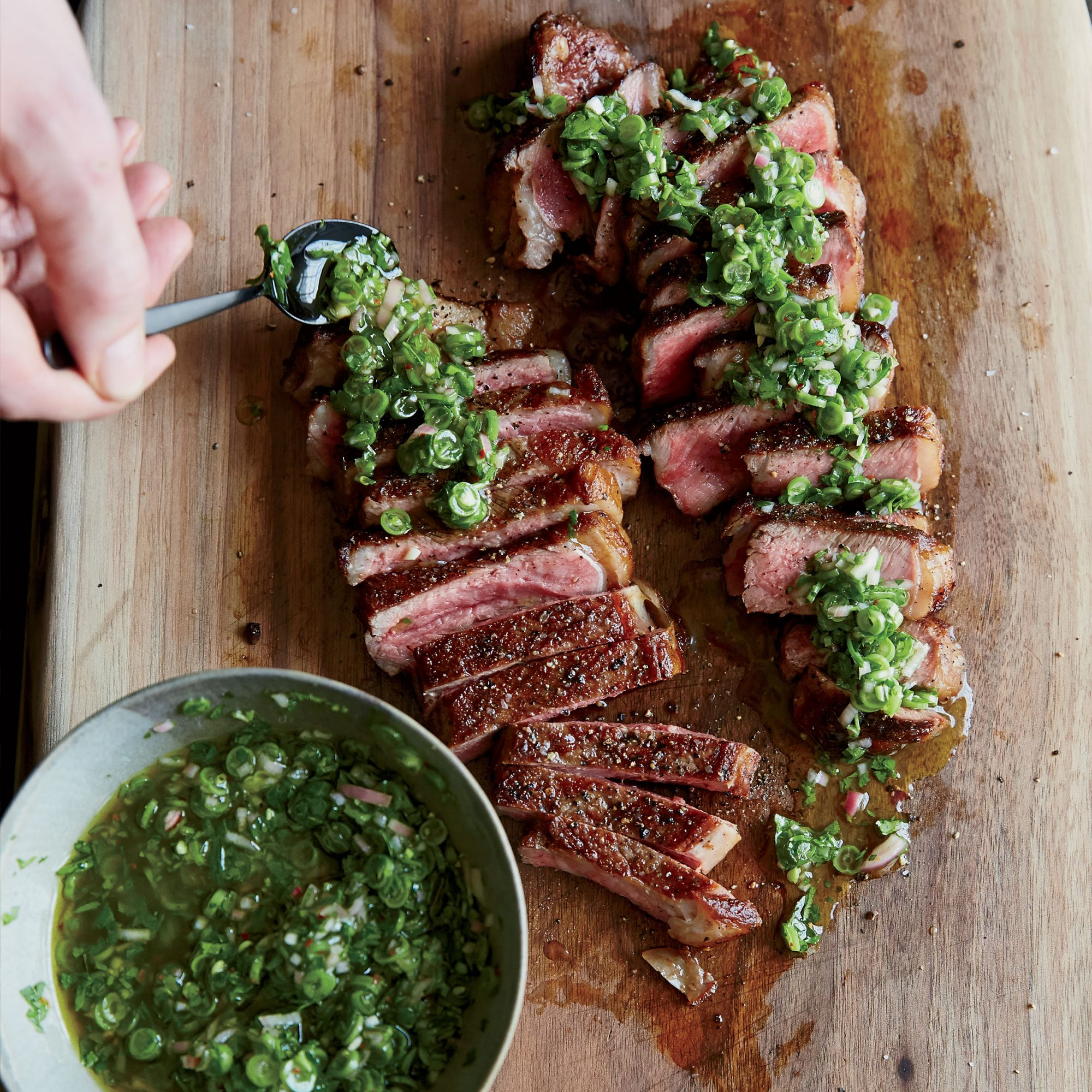 Grilled Strip Steaks with Green Bean Chimichurri
