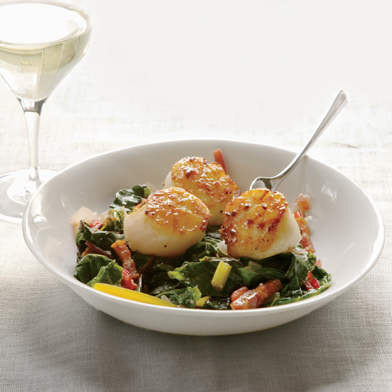 Seared Scallops with Bacon-Braised Chard