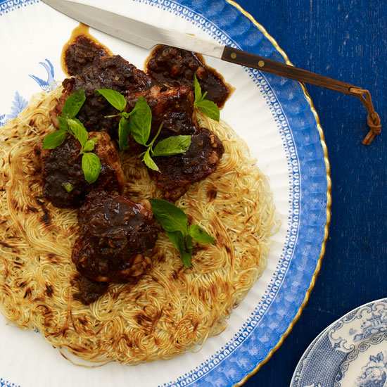 Crisp Noodle Pancake with Tamarind-Glazed Chicken