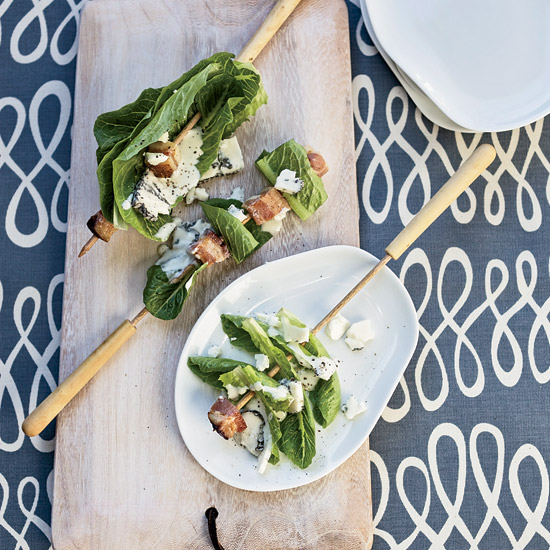 Bacon-and-Romaine Skewers with Blue Cheese Dressing