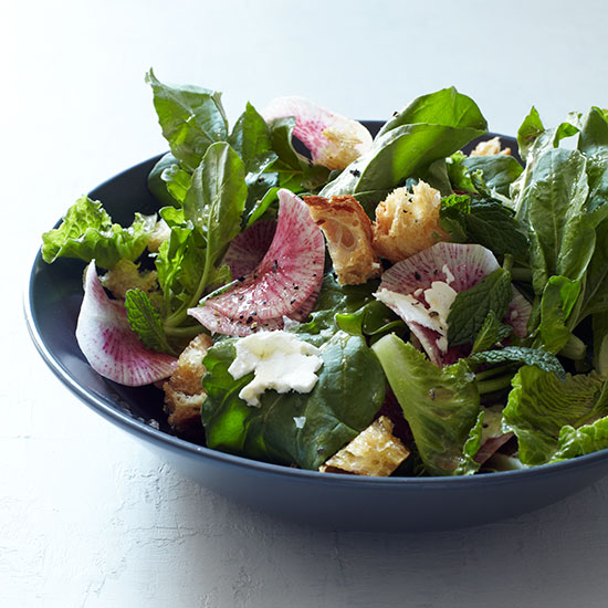 Romaine & Arugula Salad with Radishes, Mint & Feta