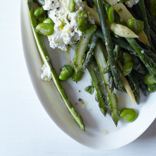 Warm Asparagus Salad with Fava Beans & Fresh Ricotta