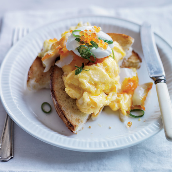 Soft-Scrambled Eggs with Smoked Sablefish and Trout Roe