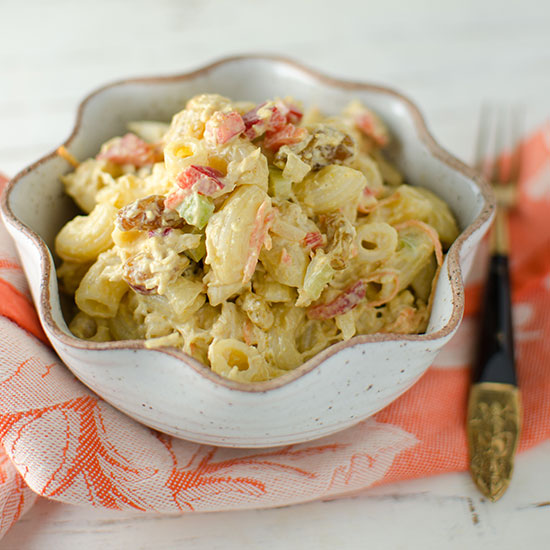 Curried Macaroni Salad with Chicken and Almonds