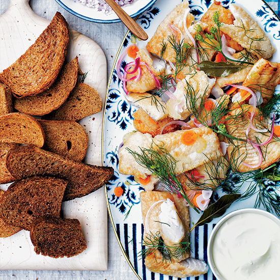 Pickled Fried Fish with Danish Rye Bread and Crème Fraîche