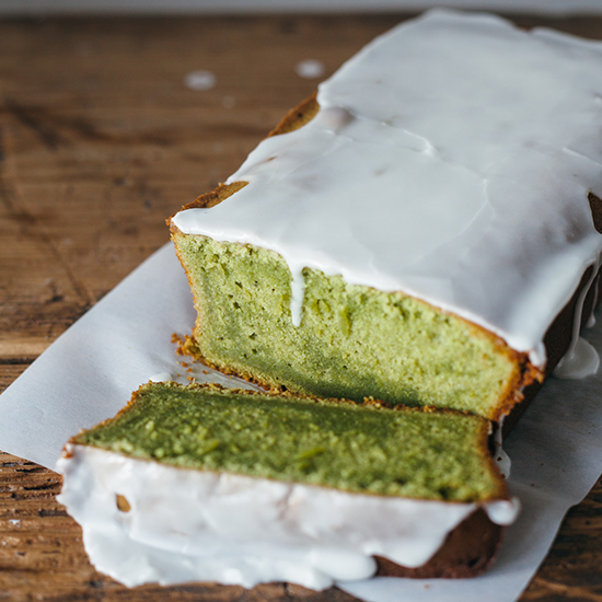 Matcha Pound Cake with Almond Glaze