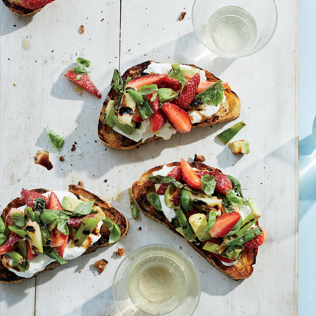 grilled strawberry avocado toasts with burrata recipe joshua