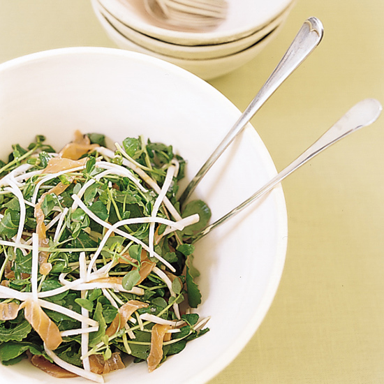 Arugula and Pea Shoot Salad with Smoked Salmon