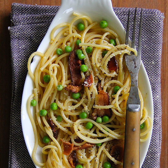 Bacon and Fresh Pea Spaghetti Carbonara