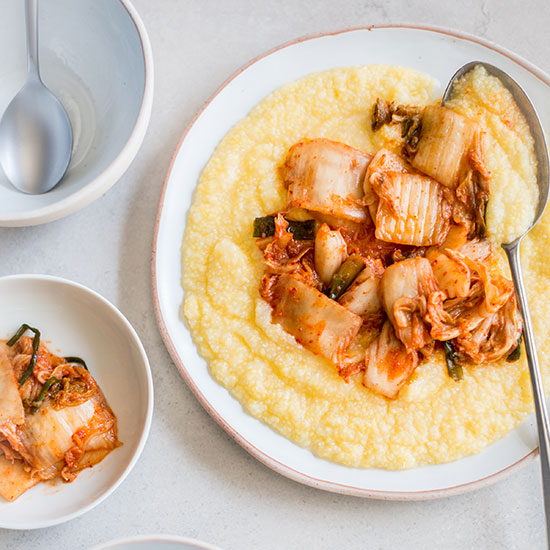 Everything you can do with a jar of kimchi food wine for Creamy polenta with mushrooms and collards