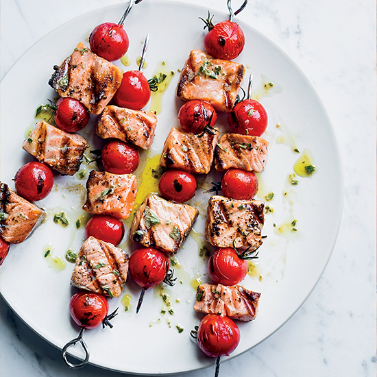 Salmon and Cherry Tomato Skewers with Rosemary Vinaigrette