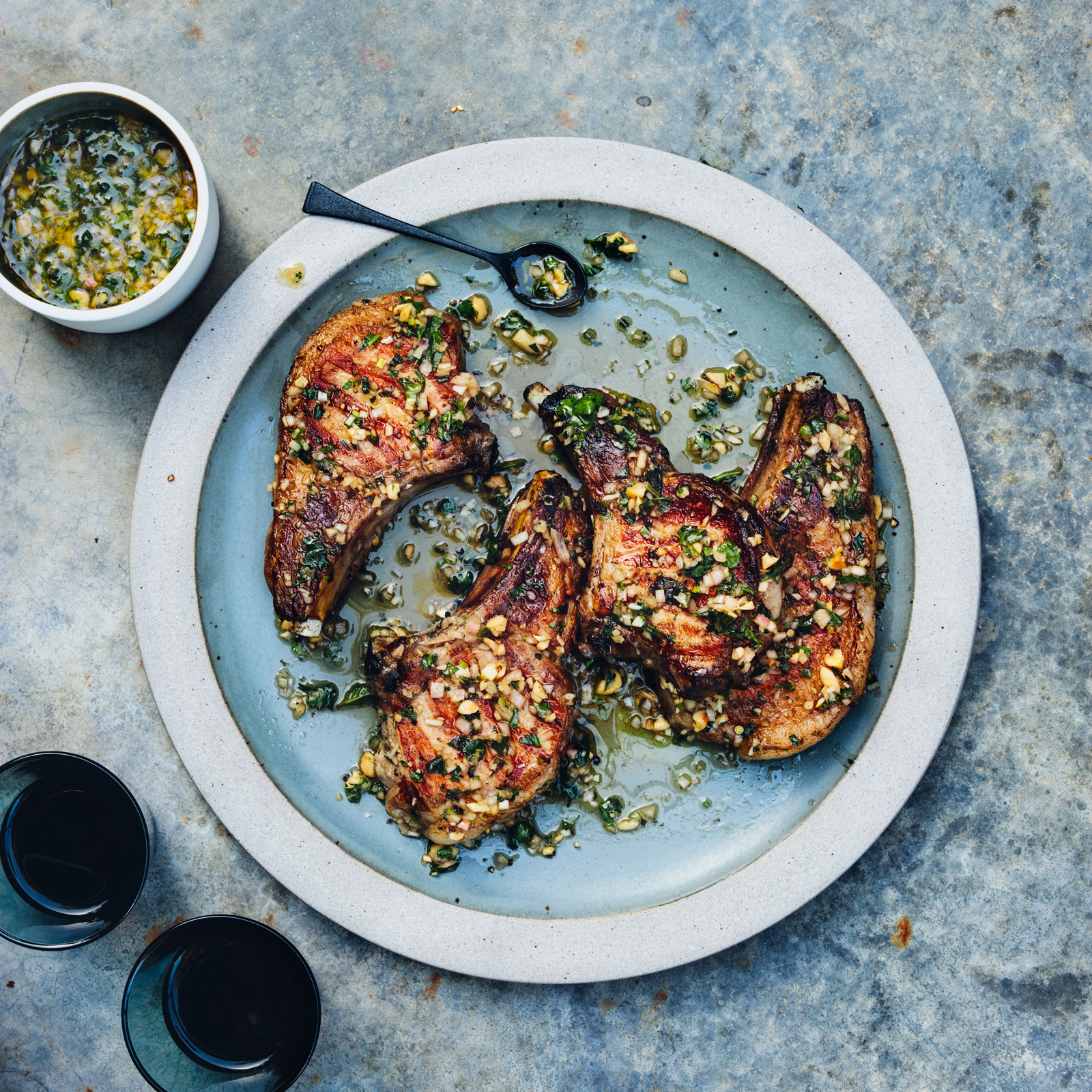 Pork Chops with Almond Salmuera