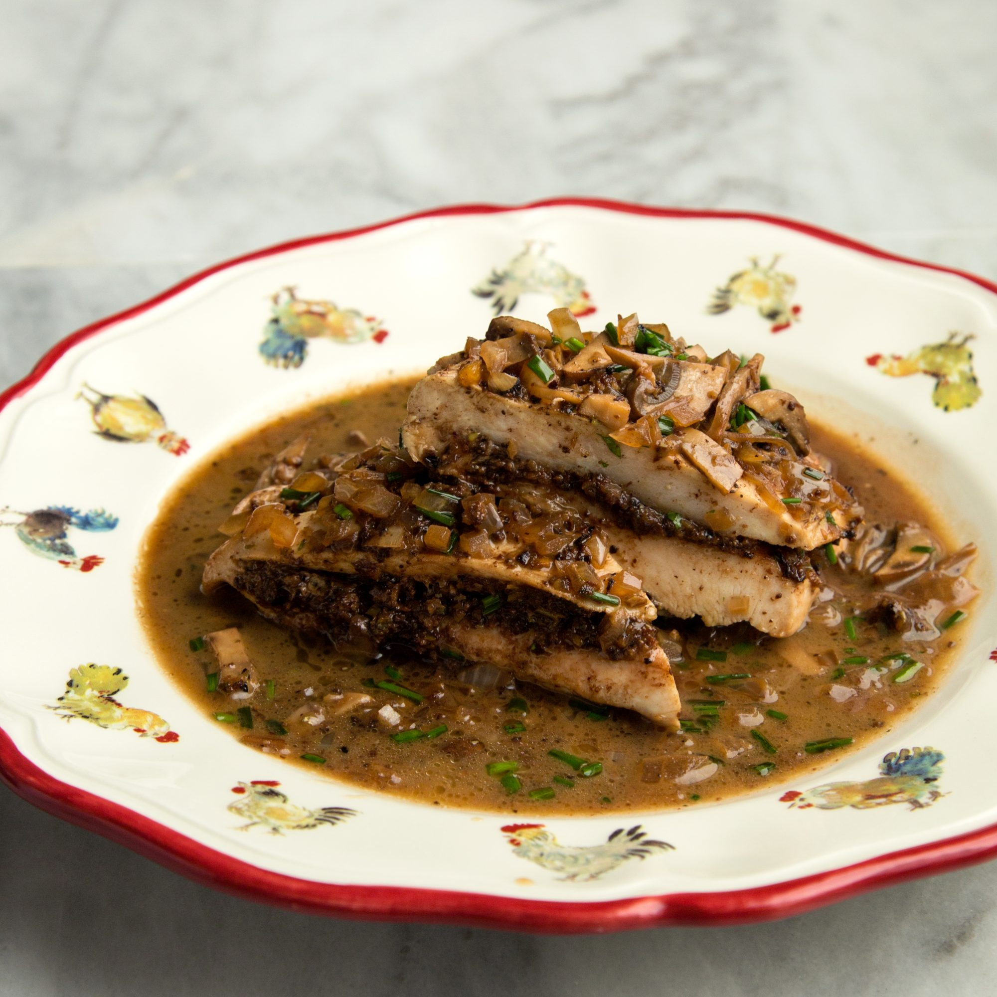 Chicken Supremes with Tapenade and Mushroom Sauce