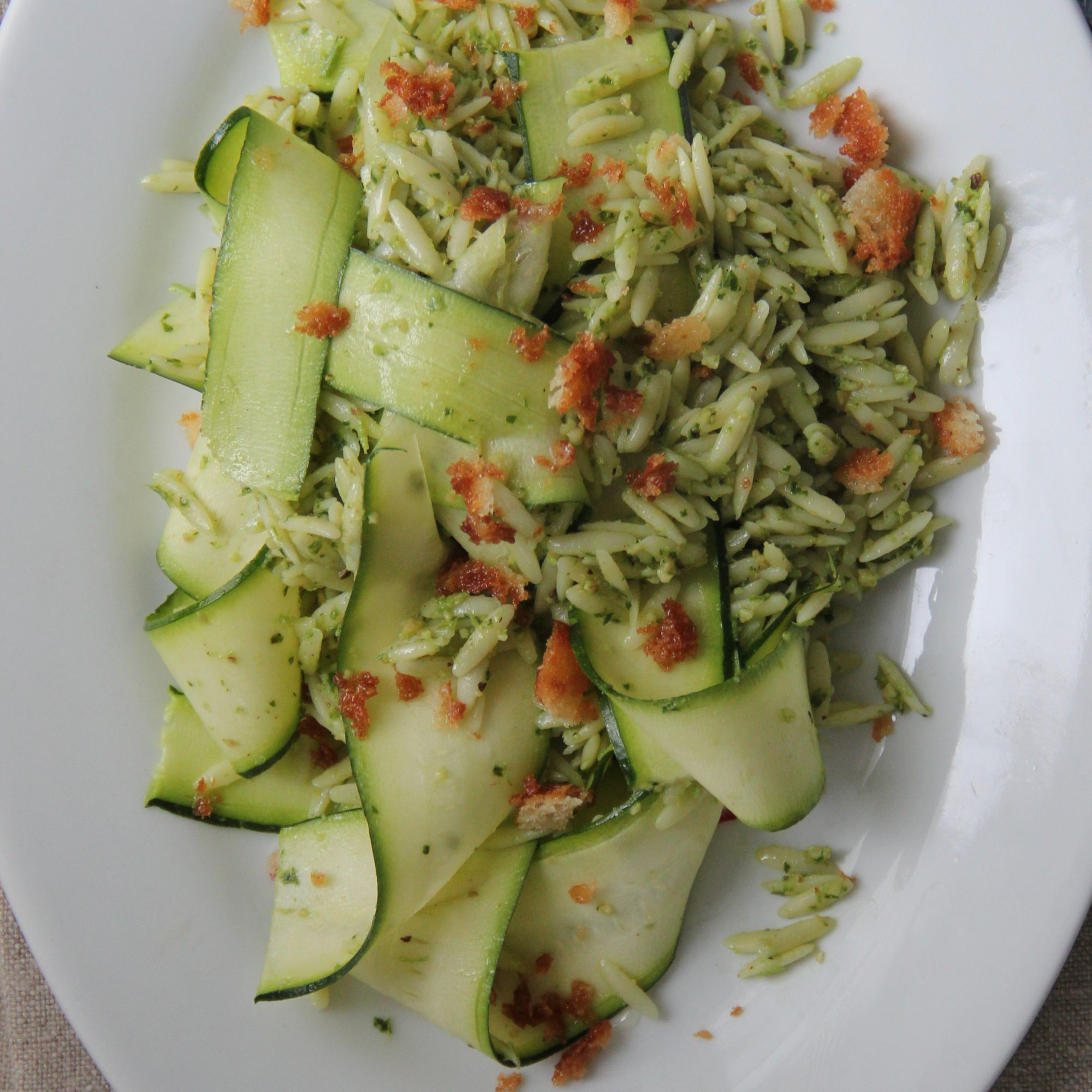 Pesto Orzo with Zucchini Ribbons and Bread Crumbs Recipe ...