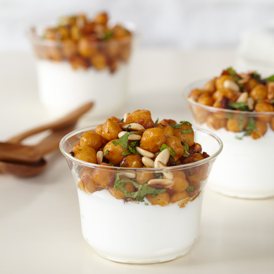 Spiced Chickpeas with Yogurt and Pine Nuts