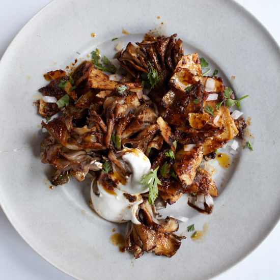 Chilaquiles with Pasilla Salsa & Hen-of-the-Woods Mushrooms