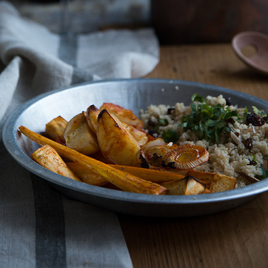 Harissa-Roasted Carrots, Fennel and New Potatoes with Couscous