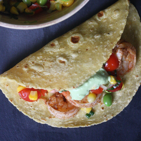 Shrimp Tacos with Edamame Succotash and Avocado Crema