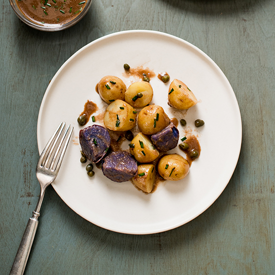 Baby Potato Salad with Balsamic, Chive & Greek Yogurt Dressing