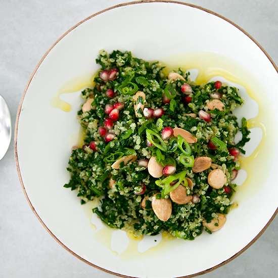 Chopped Kale Tabbouleh with Quinoa, Pomegranate Seeds and Almonds
