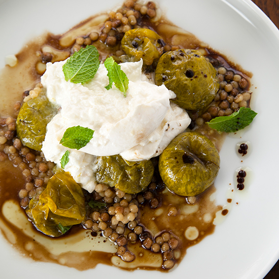 Fregola with Roasted Green Tomatoes, Burrata and Mint