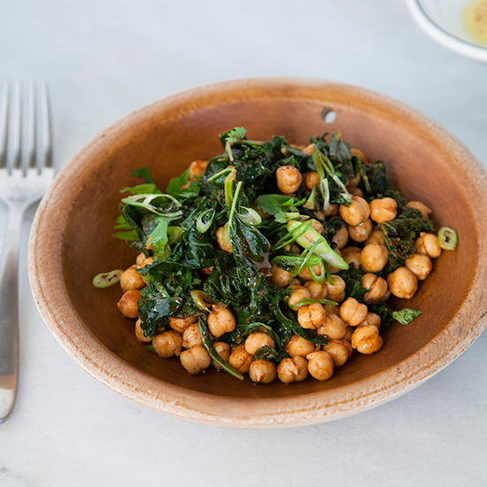 Warm Garbanzo Bean and Kale Salad with Smoked Paprika and Parsley Vinaigrette