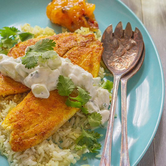 Curried Tilapia with Cucumber Raita