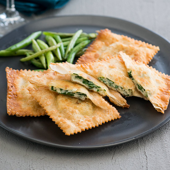 Crispy Wonton Spinach and Feta Ravioli