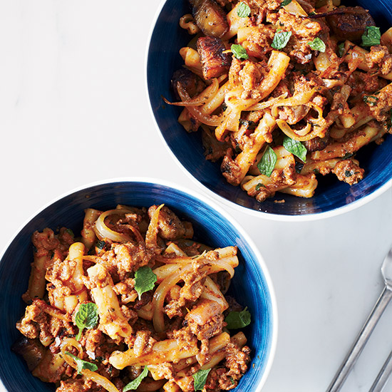 Cumin Lamb Noodles with Eggplant