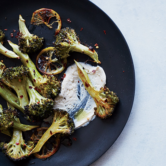 Roasted Lemon Broccoli with Tahini-Yogurt Sauce