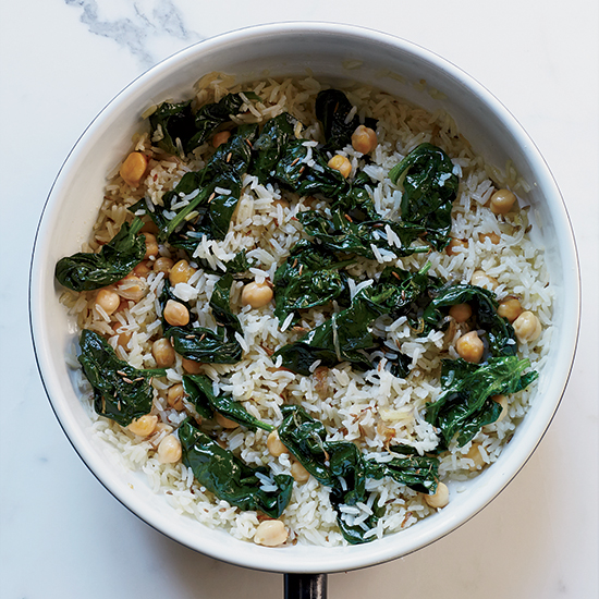 Indian Cumin Fried Rice with Spinach