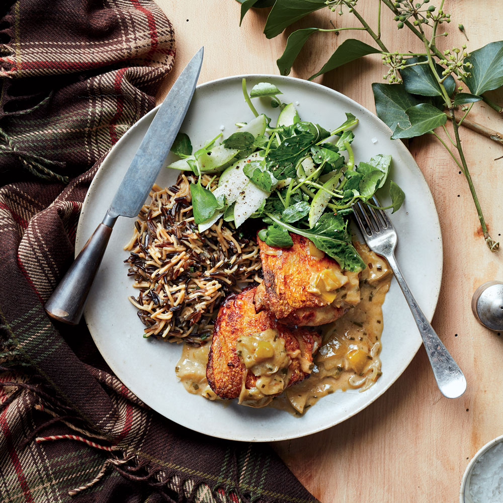Braised Chicken Thighs with Apples and Wild Rice