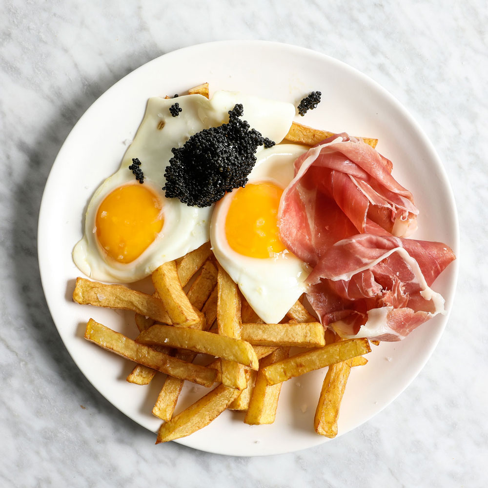 Fried Eggs with Jamon and Caviar