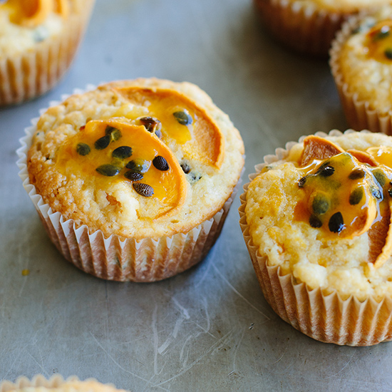 Peach and Passion Fruit Muffins