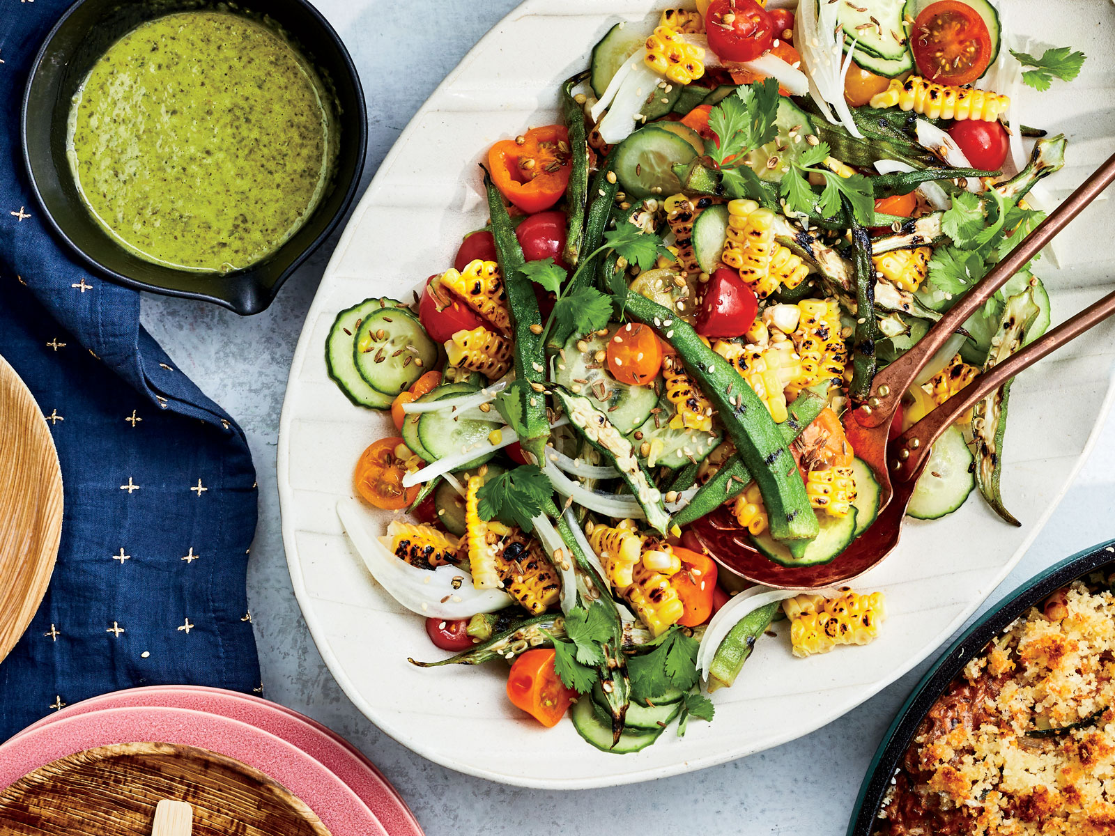 Grilled Okra, Corn, and Tomato Salad