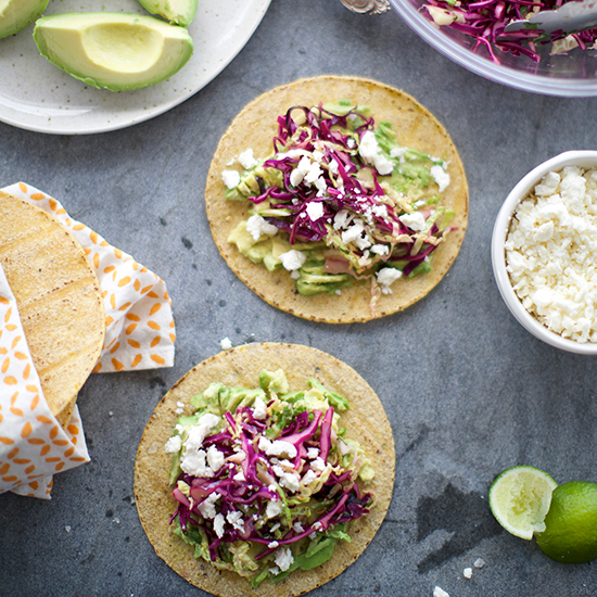 Day 27: Fresh Cabbage and Avocado Tacos with Queso Fresco